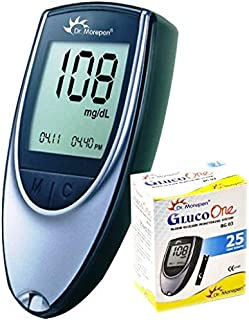 Dr. Morepen BG-03 Gluco One Glucometer, 25 Strips (Multicolor)    Diabetes Testing Machine and Strips