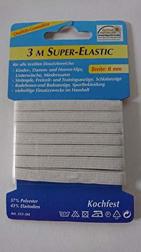 Gummiband 6 mm x 3 Meter /& 10 mm x 2 Meter wei/ß Elastic-Band 2er-Set