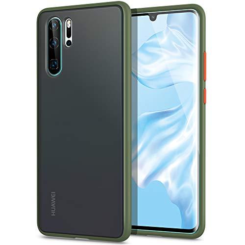 YATWIN Kompatibel mit Huawei P30 Pro Hülle, für Huawei P30 Pro New Edition Hülle, [Shockproof Style] Matte Oberfläche Translucent PC Rückschale, TPU Weiche Rahmen [Niemals Gelbfärbung], Armeegrün