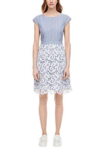 s.Oliver Damen Baumwollkleid mit Spitze Blue Stripes 40