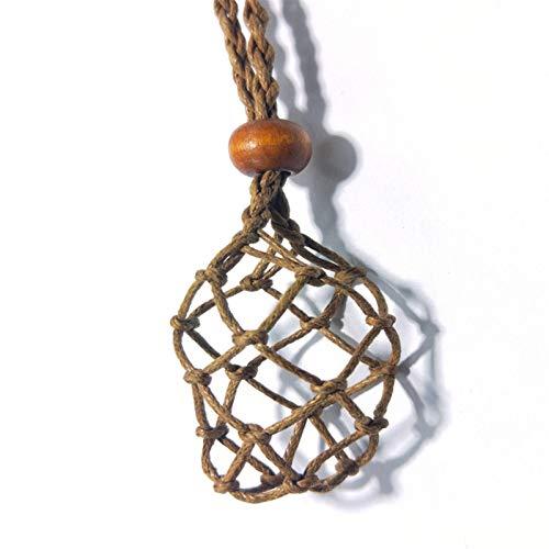Dekor Stein Halskette Kordel Leerer Steinhalter Natürlicher Quarz Kristall Rohstein Chakra Punkt Heilung Fisch Netz Indianer Amulette Anhänger