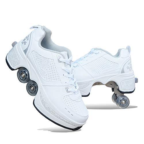 QINAIDI Roller Schuhe Skate Schuhe für Frauen Männer, Jungen Kinder Rad Schuhe Roller Sneakers Schuhe, für Unisex Anfänger Geschenk,Weiß,34