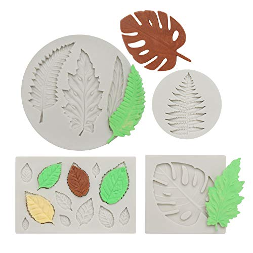 Leaf Mold, Beasea 4pcs Leaf Fondant Mold Leaves Mold Silicone Rose Polymer Clay Molds Maple Pattern Mold Candy Chocolate Cake Decorating Molds for Sugar Craft