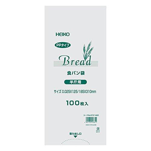 シモジマ ヘイコー PP食パン袋 半斤用 100枚入り 006721440 透明 厚0.025×幅125/全体幅185×高310mm
