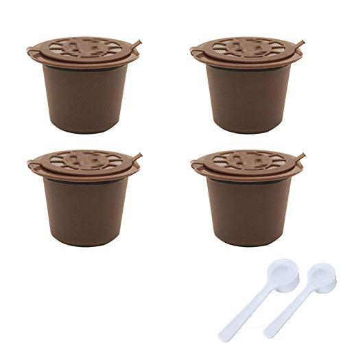 4 x Nachfüllbare Wiederverwendbare Kaffeekapseln für Nespresso-Maschinen Kaffeekapsel mit Netzfilter und 2 Plastiklöffeln - Braun