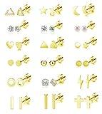 18 Pairs Tiny Cartilage Stud Earrings Set for Women Men Star Triangle Moon Heart Disc Ball CZ Small Screwback Flat Back Stud Earrings Stainless Steel Geometric Barbell Flatback Earrings Piercing Set