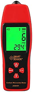GXG-1987 AS8401 Handheld Carbon Monoxide Meter, High Accuracy 0-1000PPM CO Gas Detector with LCD Display - Red