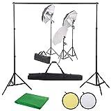 UnfadeMemory Kit Fotografía con 3 Focos de Luz Diurna,3 Paraguas,5 Soportes de Trípode,2 Segmentos de Barra Transversal,Telón de Fondo,Set Reflector (500x300cm, Telón de Fondo de Verde)