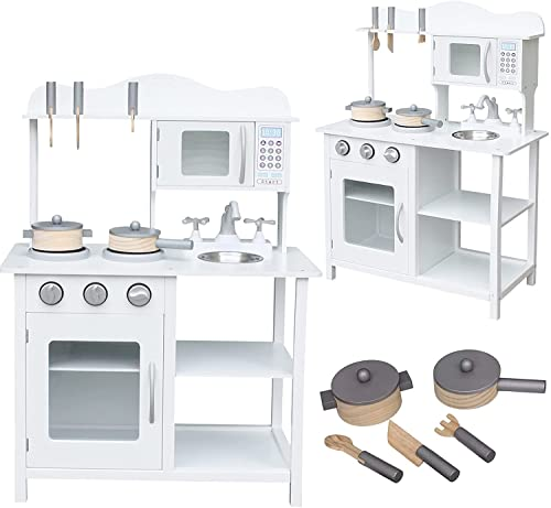 Cocina de juguete de madera, fregadero de cocina, horno y campana extractora, madera de pino y madera de abedul (modelo 6)