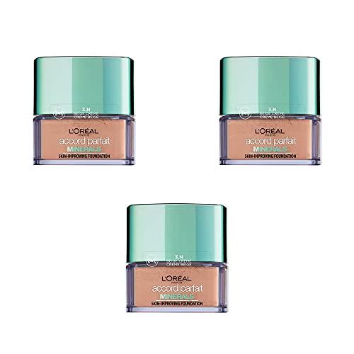 L'Oréal Paris Polvo Minerales Accord Parfait 3.N Beige Crème, Juego de 3
