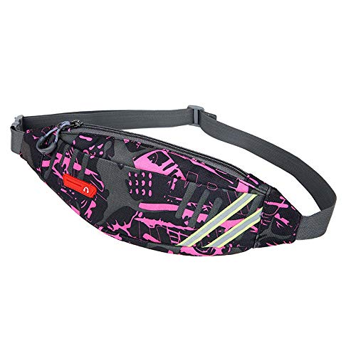 Riñonera con Cinturón para Correr Velocidad DE Marcha Cinta andadora Impermeable Cinturón de teléfono Gimnasio Al Aire Libre Viajes Deportivos (Color : Rosado, Size : 31 * 2 * 12CM)