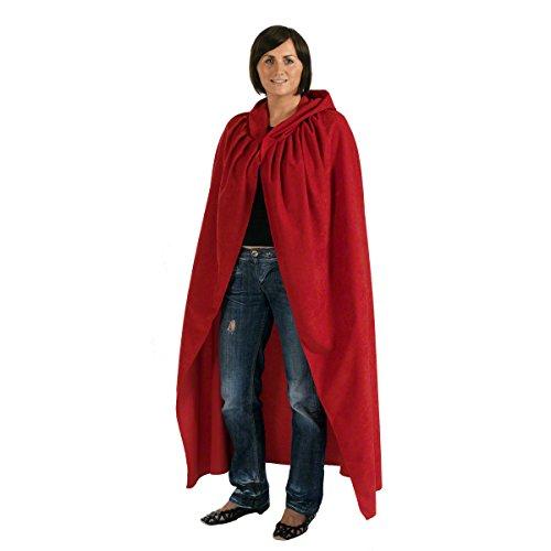 Charlie Crow Rouge. Déguisement Cape avec Capuche déguisement pour Adultes. Petit 164cm.