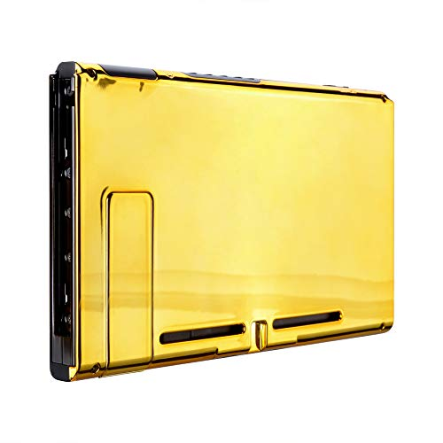 eXtremeRate Chrome Gold Console Back Plate DIY Replacement Housing Shell Case for Nintendo Switch Console with Kickstand – JoyCon Shell NOT Included