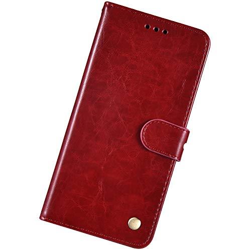 Urhause Kompatibel med Huawei Honor 7X, tunt oljevax prägling läderväska skyddshölje med kortfack stativ stötfångare plånbok fodral flip skyddande fodral magnetlås snodd mobilskal, rödbrun