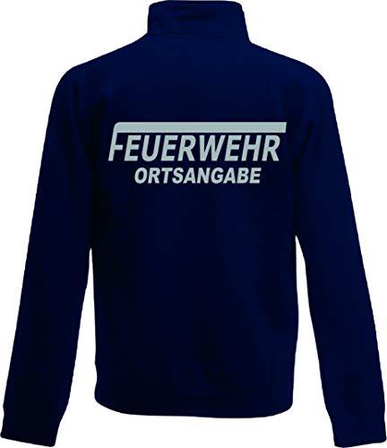 Shirt-ideen.com Feuerwehr Zip Neck Sweat, Navy Bedruckt mit Neongelb oder reflexsilber (medium, reflexsilber)