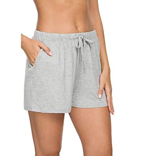 Shorts Ulanda-EU Kurze Schlafhose Damen Schlafanzughose Pyjamahose Kurz Baumwolle Shorty Sleep Hose Pants Sporthose Kurz Sommer High Waist Kurze Hosen Nachtwäsche Taschen und Kordelzug
