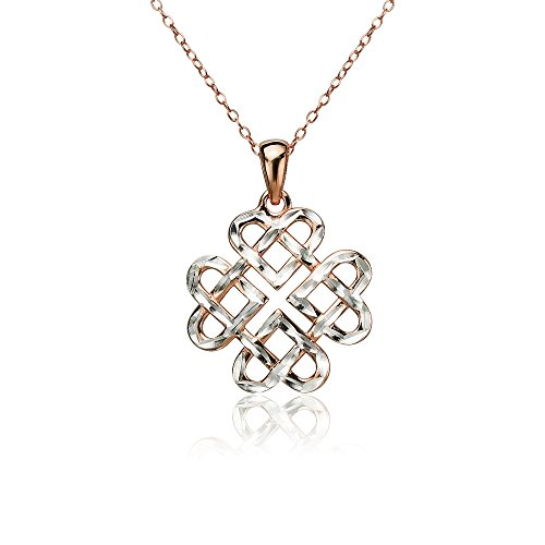 Rose Gold Flashed Sterling Silver Two-Tone Diamond-cut Filigree Cross Pendant Necklace