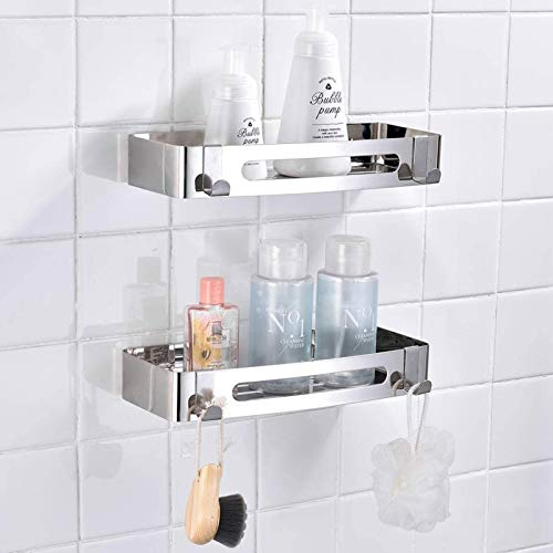 GCBTECH Estante de ducha de acero inoxidable, sin agujeros, 2 unidades, organizador para ducha, estante de ducha, estante de baño, estante autoadhesivo, inoxidable 304 para cuarto de baño o cocina