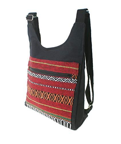 CAL FUSTER: Mochila Chaleco Hippie étnico Estampado Tela algodón Color Negro. Medidas