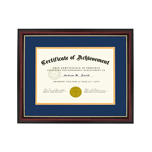 Document Frame for 8.5x11 Inch Diploma/Certificate with Mat - Real Wood Frame for 11x14 Photo Document Without Mat (Classy Red Frame_Double Mat(Navy Blue & Gold), 11x14)