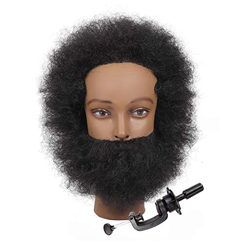 Afro Male Mannequin Head with 100% Human Hair - African American Manikin Head Hairdressing Training Head for Practice Cutting - Cosmetology Mannequin Head Doll Head (A style)