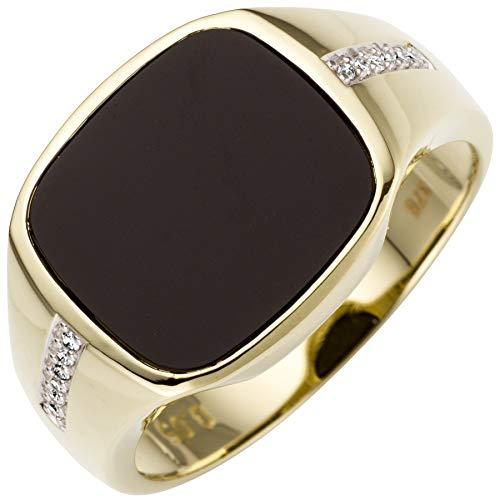 JOBO Herren-Ring aus 585 Gold Bicolor mit Onyx und 12 Diamanten Größe 66