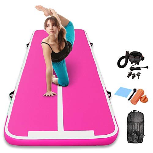 Track Air Mats Gymnastics Inflatable Air Tumbling Mat 10Ft 13Ft 16Ft 20Ft With Electric Air Pump For Water Yoga,Beach,Training (All Pink, 9.84 FT)
