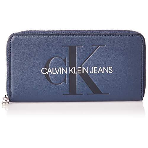 Calvin Klein Sculpted Large Ziparound - Portafogli Donna, Blu (Washed Blue), 1x1x1 cm (W x H L)