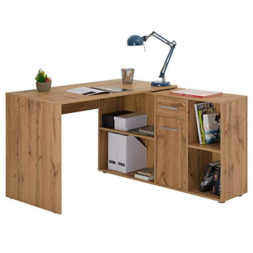 IDIMEX Schreibtisch Eckschreibtisch Carmen mit Regal 120x75x59 cm Winkelkombination in Wildeiche
