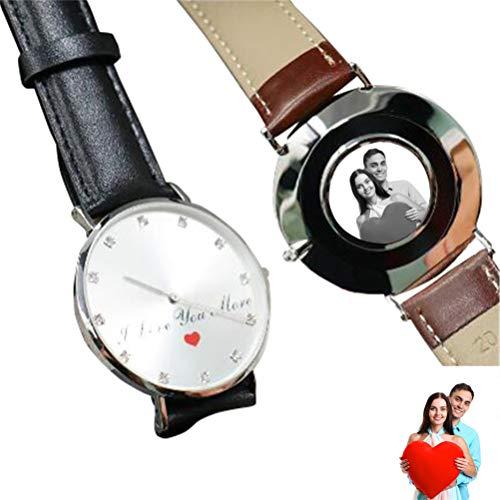 Personalisierte angepasste Leder Uhr für Männer Foto Print auf Zifferblatt Paar Geschenk