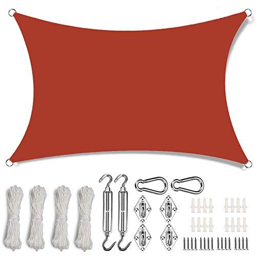 COUEO Vela de Sombra Impermeable 3.5x7.5m 95% Protección UV Toldo Vela IKEA con Kit de Montaje para Patio Exteriores, Rojo