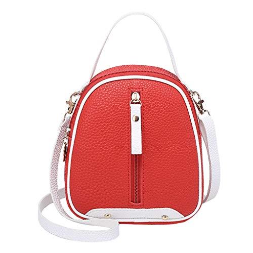 COZOCO Frauen Mode Schultertaschen kleine Rucksack Geldbörse Handy Messenger Bag Flap Handy Tasche(rot,)