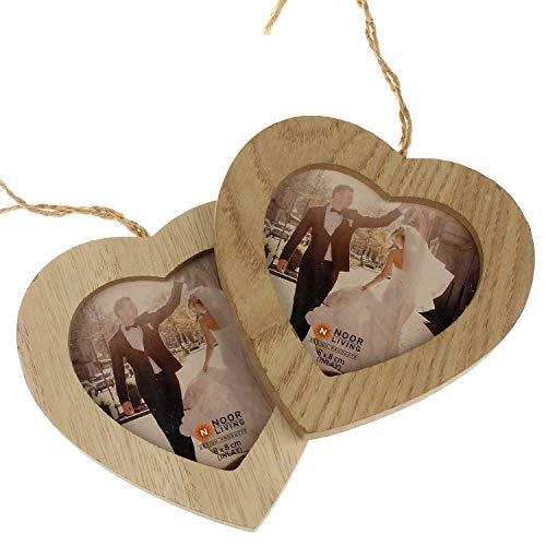 MACOSA NO69232x2 2er Set Bilderrahmen Holz Herz   Fotorahmen mit Kordel   Deko-Rahmen zum Aufhängen   Portraitrahmen   Holzrahmen Foto Aufhänger