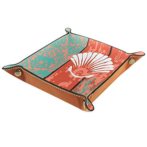 Organizador de canastas de cuero puerta de madera roja para la mesa de estar del escritorio del tocador