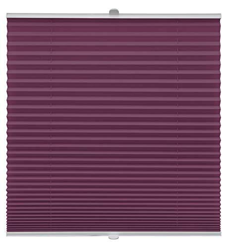 Plissee auf Maß für alle Fenster Montage Glasleiste Blickdicht mit Spannschuh Sonnenschutzrollo Lila Breite: 41-50 cm, Höhe: 40-100 cm