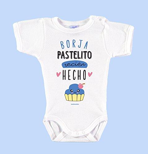 Body Bebé Personalizado con Nombre 100% Algodón Orgánico'Pastelito Recién Hecho' (3 meses, Azul)