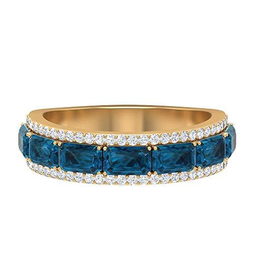 Anillo único de boda ancho, 2,8 ct 5 x 3 mm, anillo de topacio azul Londres, anillo de diamantes HI-SI 1/4 ct, anillo de piedra natal de diciembre, anillo de eternidad, 14K Oro amarillo, Size:EU 68