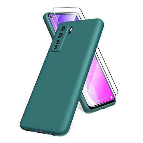 All Do Oududianzi Hülle für Huawei P40 lite 5G, Panzerglas Bildschirmschutzfolie, weiche TPU Flüssigsilikonhülle, stoßfestem Gummi Silikongel Fall-Nachtgrün
