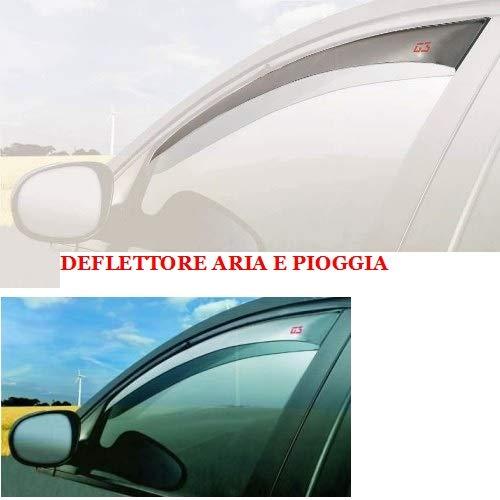 COMPATIBILE CON Lancia Delta 5P 2008- (19306) DEFLETTORE PER ARIA E PIOGGIA PROTEZIONE ANTIVENTO PER FINESTRINO AUTO BARRA PER VETRO PARAVENTO D'ARIA ANTERIORE