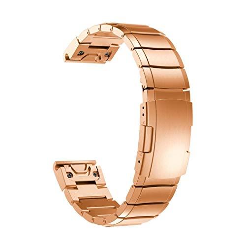 G-RF Bandas De Repuesto 26mm 22mm 20mm Pulseras De Metal con Espalda De Tortuga para Garmin Watch Múltiples Modelos (20mm,Rose Oro)