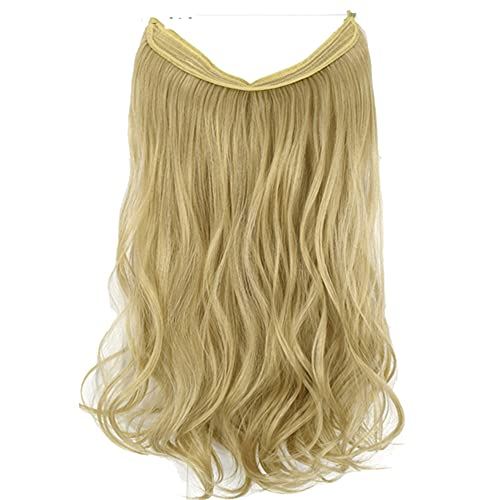 Women Halo Hair Extensions Wavy Invisible Elastic Wire Hidden Hairpieces No Clip Heat Resistant Synthetic Fiber 15A-613 Wavy 20inches