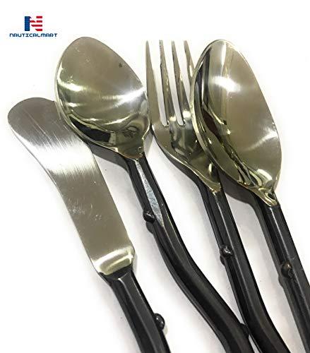 Besteck-Set aus Edelstahl, Besteck mit Holzstiel, Griff, Gabel, Löffel, Messer für Küchenzubehör, Wikinger-Besteck, Mittelalter-Besteck