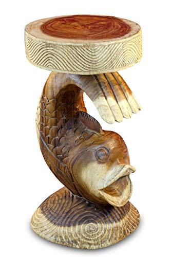 Kinaree Akazie Beistelltisch DA Nang - 52cm handgeschnitzter Echtholz Hocker in Form eines Kois