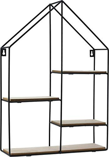 Spetebo Design Wandregal Haus 50x35 cm - 4 Holz Ablagen - Metall Hängeregal Setzkasten Regal