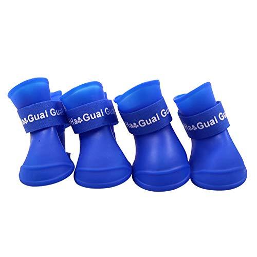 XYDZ 4 Piezas Botas de Lluvia para Perros Zapatos para Mascotas Antideslizante Botas Impermeables para Perros Pequeños Perrito (L, Azul)