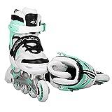 SportVida Inline Skates Kinder Erwachsene Inliner 4in1   Verstellbare Schlittschuhe   Triskates ABEC7 Lager Rollschuhe Größenverstellbar (Weiß-Türkis, 39-42)