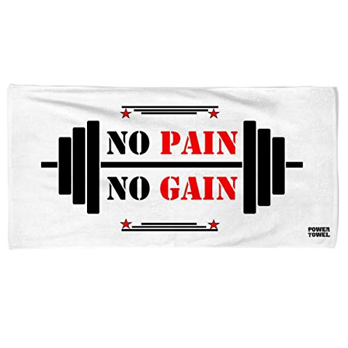 Power Towel das Coole Fitness & Sport-Handtuch mit Einer Botschaft| Verschiedene Motivations-Quotes| Größe 50 cm x 100 cm | POWERTOWEL Handtuch ohne Mikrofaser (NO Pain NO GAIN White)