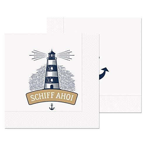 Preis am Stiel 4 Pack. Servietten Schiff AHOI | Tischdekoration | Servietten mit Sprüche | Papierservietten