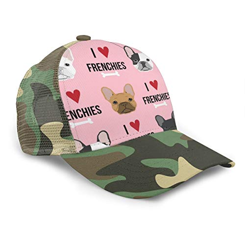 Baseball Cap Men Women, Sports Adjustable Youth Dad Ball Hat, I Love French Bulldogs