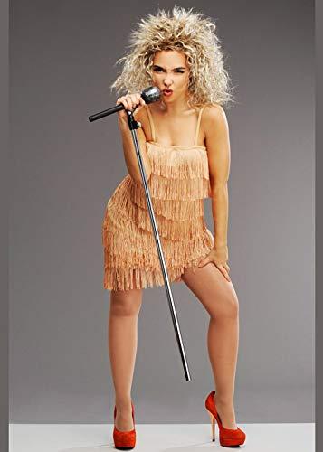Damen 1980er Jahre Tina Turner Style Fransen Kostüm mit Perücke Medium (UK 12-14)